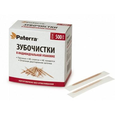 Зубочистки деревянные в индивидуальной упаковке Paterra